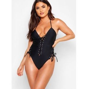 Boohoo one piece- lace up, tie side bathing suit